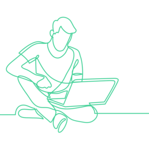 Line Drawing of man on laptop